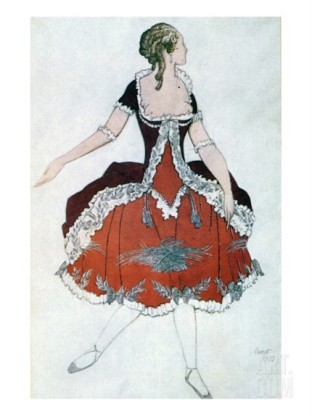 Bakst's design for Aurora in the Rosa Adagio, 1921.