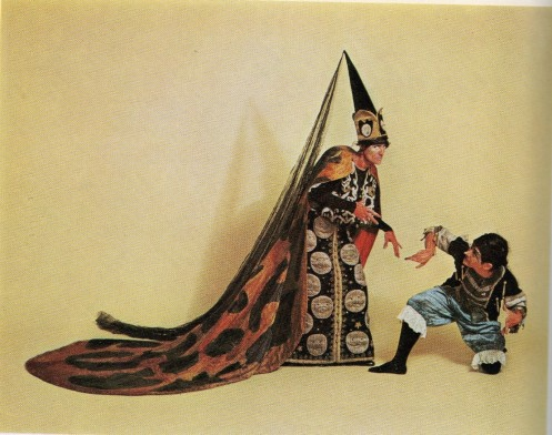Photograph of the surviving Carabosse costume and page from the 1968 Sotheby's auction catalogue