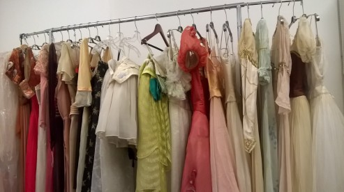 The rail of costumes ready for me to mount.