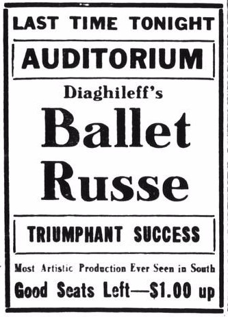 Ballets Russes Advert - Houston Daily Post - 5th Dec 1916